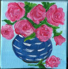 Pink roses  in Blue and white vase original  by SharonFosterArt