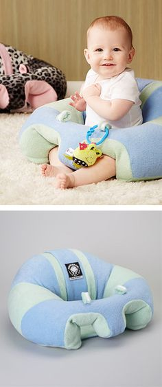 Hugaboo plush baby support seat // such a brilliant idea! Hands free time for mama, help for little one to learn to sit! #product_design