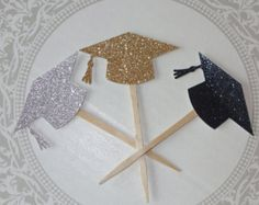 24 piezas negro graduación Cap Cupcake Toppers palillos de