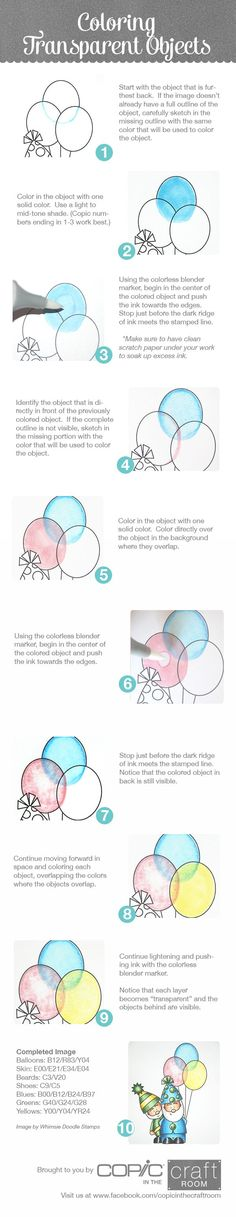 Brought to you by Copic in the Craft Room How to color transparent objects Image from Whimsie Doodle Stamps Visit us at copicinthecraftroom Copic Marker Art, Copic Pens, Copic Art, Copic Sketch, Copics, Prismacolor, Coloring Tips, Colouring Pages, Adult Coloring