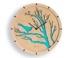 "Modern Wall Clock ""Bird"", blue,  Large Wall Clock, Wooden Clock, Wood Decor Green Leaves Interior, plywood, handmade, swarowski, hermle"