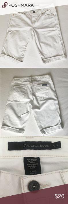 Calvin Klein Capris/ Shorts Gently worn Calvin Klein capris that can be cute into cute white distressed shorts Calvin Klein Shorts Jean Shorts