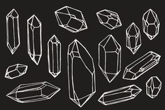 Hand-drawn crystals. Inspired by the exquisite facets of rough quartz crystal points. Perfect for illustrating bohemian jewellery brands, natural history books, and esoteric literature. Includes: 14 vector shapes of crystals. Both outline and fill shapes, for easy coloring. Format: .AI (CS6) .SVG .PNG (transparent raster images of the drawings) This collection goes well with the …