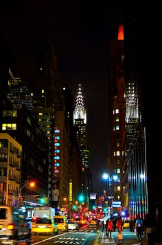 New York City by night: Midtown  Lexington Avenue.