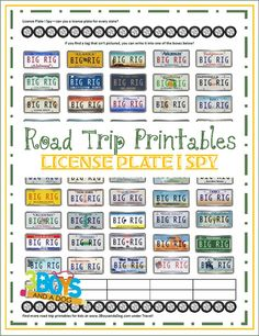 Road Trip Printables for Kids: License Plate I Spy