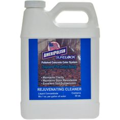 #ConcreteFloorCleaners #PolishedFloorCleaners AMERIPOLISH SURELOCK REJUVENATING CLEANER | Making Concrete Look Young Again. The concrete surface gets worn and scratched every day. Cleaning it with SureLock Rejuvenating Cleaner adds stain resistance back in where it's been worn away. It helps the Stain Protector application do its job better so color isn't damaged or lost. • Contains UV stabilizers to help protect against fading • Rejuvenates stain protection •