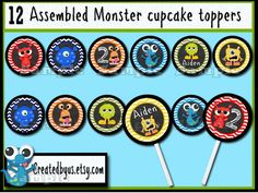 Monster Cupcake Toppers Monster Birthday Party Decorations