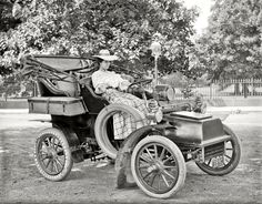 "Cadillac Model B Runabout Washington, D.C. circa 1908. ""Miss Corine Murphy in auto. From Shorpy."