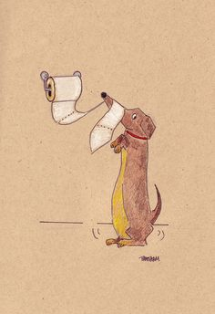 Dachshund TP Party About to Start by LongDogGeneral on Etsy, $15.00