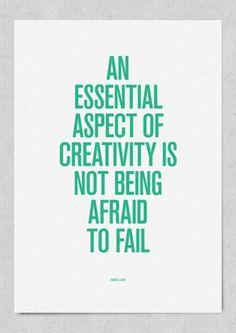 Ne pas avoir peur d'échouer est un aspect essentiel de la créativité. En savoir plus: http://famactive.com/ressources/inspiration/echouer-pour-reussir-dans-lentrepreneuriat/