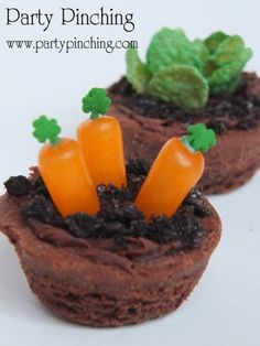 "Mini garden brownies!  From what I can tell, the ""carrot"" one looks like orange Mike & Ikes, with shamrock sprinkles on top. The ""lettus"" on the back brownie looks like food coloured Frosted Flakes. The ""dirt"" looks like a mixture of chocolate frosting, and crushed oreos? Its hard to tell, but thst's what it looks like."
