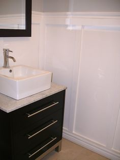 Love this look for a small bathroom