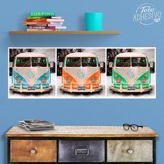 Vinilos Decorativos: Poster Adhesivo 3 furgonetas Bully #poster #vw #t1 #t2 #volkswagen #furgoneta #hippie #lámina #vinilo #TeleAdhesivo Volkswagen T1, Vans, Adhesive, Vinyls, Illustrations