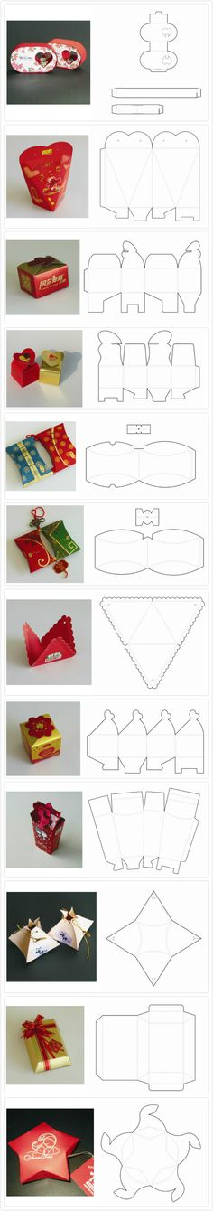 Beautiful gift boxes - Paper box structure templates (die-lines) Diy Gift Box, Diy Gifts, Wrapping Ideas, Gift Wrapping, Diy And Crafts, Paper Crafts, Foam Crafts, Paper Toys, Papier Diy