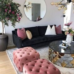 Cozy Living Room For Your Home - Living Room Design Living Room Decor Cozy, Decor Room, Home Living Room, Apartment Living, Living Room Designs, Living Room Furniture, Bedroom Decor, Home Decor, Black Sofa Living Room