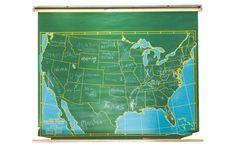Vintage Chalkboard World Pull Down Map