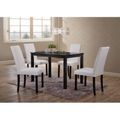 5 Piece Black Wood Rectangle Kitchen Dinette Dining Table & 4 White Upholstered Parsons Side Chairs Set