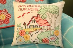 Joy's thoughts and things... This is a beautifully done vintage style pattern.The design is embroidered and tinted with color.It's a real piece of thread art!..