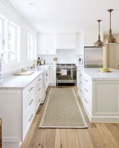 oak flooring Sisal runner, white kitchen with carrara marble, brass accents, oak floors, shiplap walls by Cottonwood Interiors New Kitchen, Kitchen Dining, Kitchen Decor, Kitchen Ideas, Kitchen Wood, Kitchen Runner, Kitchen Grey, Kitchen Layout, Kitchen Walls