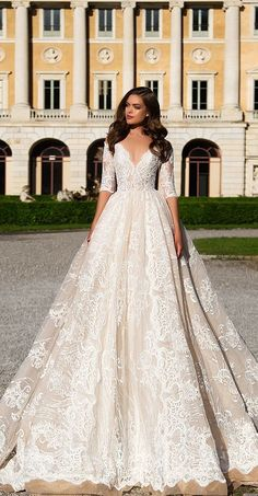 Milla Nova Wedding Dresses 2017 offer a timeless glamour which is difficult to rival. Mila Nova wedding dress is made from luxury and high quality satin and silk combined with embroidery Wedding Dresses 2018, Bridal Dresses, 2017 Wedding, Popular Wedding Dresses, 2017 Bridal, Wedding Spot, Post Wedding, Wedding Ceremony, Lace Wedding
