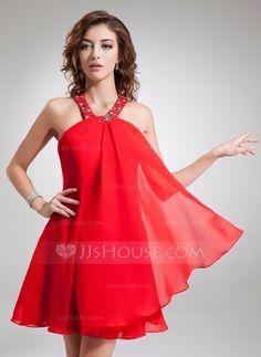 A-Line/Princess Halter Short/Mini Beading Zipper Up Regular Straps Sleeveless No Red Spring Summer Fall General Chiffon Homecoming Dress