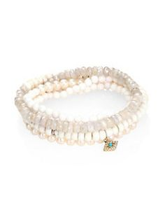 Sydney Evan - Large Bezel Evil Eye 5MM White Freshwater Pearl, Diamond, White Sapphire, White Agate & Turquoise Beaded Stretch Bracelets