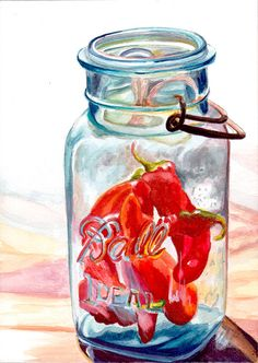 Trapped 2 - Ball Jar with Red Peppers by Jennifer Redstreake