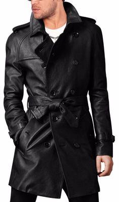 47877e298f7 Brand New Men s Genuine Real Soft Lambskin Leather Trench Coat Long Jacket  MTC02  LeatherCraze