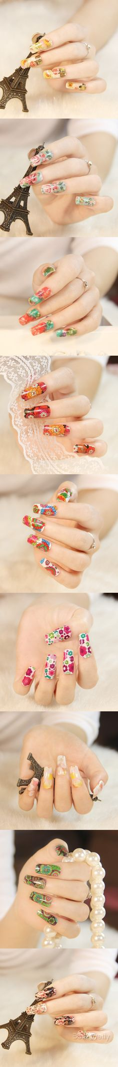 Beautiful Flowers Nail Nail Water Transfer Stickers Decoration Full ...