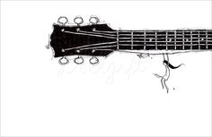 Hang In There~ #art #wallart #walldecor #music #instrument #guitar #cute #fun #dog #puppy #blackandwhite #dollgiftbyrheea