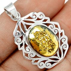 Golden Window Druzy 925 Sterling Silver Pendant Jewelry GWDP161