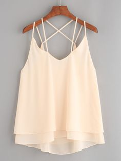 Shop Spaghetti Strap Zipper Chiffon Apricot Cami Top at ROMWE, discover more fashion styles online. Summer Outfits, Casual Outfits, Fashion Outfits, Womens Fashion, Chiffon Cami Tops, Mode Style, Tank Tops, Crop Tops, Stylish