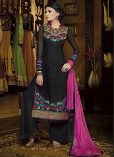 Charming Black Jacquard Palazzo Salwar Suit | Item Code: 4692