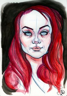 """Hannah"" ink, colored pencil, watercolor"
