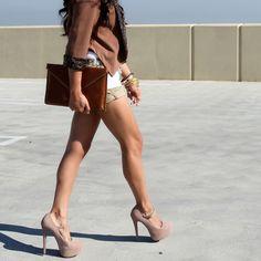 Suede platform pumps, clutch, shorts, bracelets