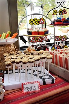 Mad Momma: Train Birthday Party!  Love the s'more on a stick idea but the cake pop base is genius!