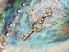 Pilgrim Denmark Crystal Inset Key Pendant Charm Gold Tone Metal Claw Fixing