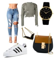 Sporty chic by cassidybw on Polyvore featuring polyvore, fashion, style, adidas Originals, adidas, Chloé, Porsche and clothing