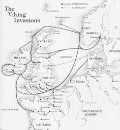 On both sides of my family my heritage traces back to Viking ancestors . This is a neat Viking invasion map. Unfortunately Waterford, the oldest of all Hiberno-Norse settlements, seems to be missing. European History, British History, World History, Ancient History, Family History, Ancient Aliens, American History, Norse Vikings, Norse Mythology