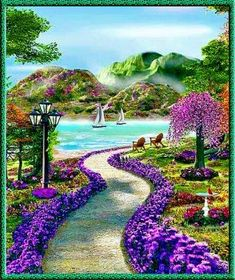 Solve тропинка к морю jigsaw puzzle online with 56 pieces Beautiful Nature Wallpaper, Beautiful Paintings, Beautiful Landscapes, Photo Background Images, Photo Backgrounds, Beautiful Flowers Garden, Beautiful Gardens, Pictures To Paint, Nature Pictures
