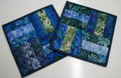 Batik mug rugs - great use of scraps