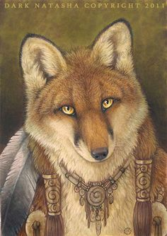 Another fox with some native American style to him. Mixed media acrylic inks, marker and color pencil.