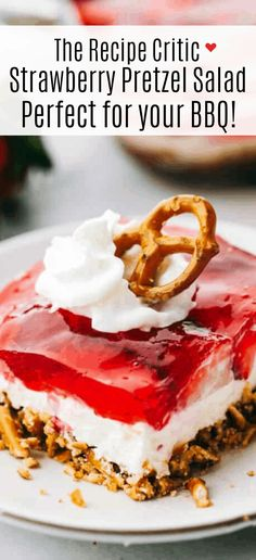 Strawberry Pretzel Salad has a sweet and salty pretzel crust, cream cheese middle, and a jello strawberry layer on top. Everyone loves this salad! # Food and Drink salad Strawberry Pretzel Salad Recipe Strawberry Pretzel Salad, Strawberry Recipes, Jello Pretzel Salad, Dessert Simple, Köstliche Desserts, Dessert Recipes, Freezer Desserts, Cheesecake Desserts, Pretzel Crust