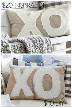 How to Make an XO Valentine's Pillow from Drop Cloth Diy Valentine's Pillows, Pillow Crafts, Diy Pillow Covers, Sewing Pillows, Custom Pillows, Fabric Crafts, Decorative Pillows, Throw Pillows, Homemade Pillows