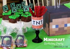 Planning a big Minecraft party? We have found all the best ideas for the ultimate Minecraft party of all time - find your inspiration here. Minecraft Party, Minecraft Ideas, Minecraft Font, Minecraft Cake, 10th Birthday, Birthday Parties, Birthday Ideas, Lego Birthday, Birthday Cakes