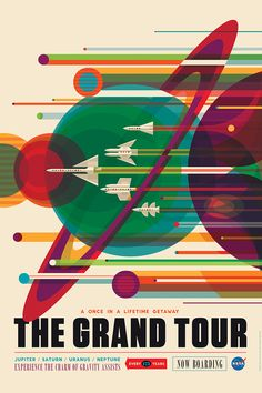To visit space and explore remains a distant dream for all of us. Nasa has now released a series of retro travel posters. The colourful space-themed travel posters for Nasa's Jet Propulsion Laboratory were created by Invisible Creature. Poster Retro, A4 Poster, Kunst Poster, Vintage Posters, Poster Series, Vintage Graphic, Art Series, Retro Vintage, Poster Boys