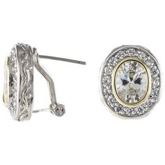 CZ by Kenneth Jay Lane Classic Oval Cubic Zirconia Two-Tone Bezel Post... ($98) ❤ liked on Polyvore featuring jewelry, earrings, two tone jewelry, round stud earrings, cz stud earrings, cubic zirconia earrings and round earrings