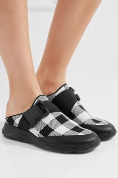 f52ac7b78b Christopher Kane - Buckled Gingham Stretch-knit Slip-on Sneakers - Black