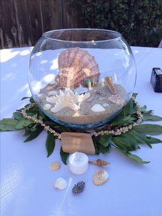 Beach wedding, Hawaiian theme centerpieces, seashells, sand, DIY wedding