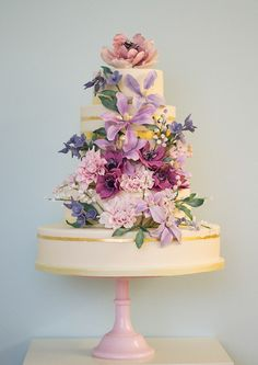 Rosalind Miller Wedding Cakes purple and mauve floral wedding cake